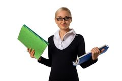 Beautiful business woman with folders and documents wondering Royalty Free Stock Photo