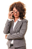 Beautiful business woman hand on glasses Stock Photo