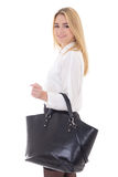 Beautiful  business woman with handbag isolated on white Stock Photography