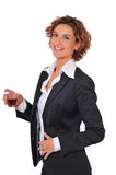 Beautiful Business Woman Having a Cocktail. A young beautiful business woman having a cocktail after work, her shirt is unbuttoned and she's ready to let loose Royalty Free Stock Photo