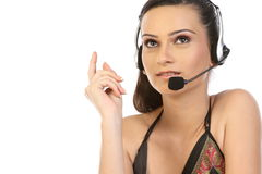 Beautiful business woman with headset. Stock Images