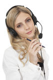 Beautiful business woman with headset Royalty Free Stock Photos