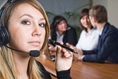 Beautiful business woman with headset Stock Images