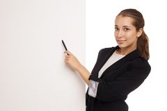 Beautiful business woman holding blank billboard Royalty Free Stock Image