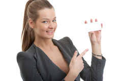Beautiful business woman holding a blank card Stock Photo