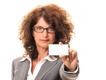 Beautiful business woman holding a blank card Royalty Free Stock Image