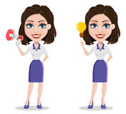 Beautiful business woman holding blank clipboard. Businesswoman in formal wear standing straight. Cute cartoon character. Vector illustration Stock Photo