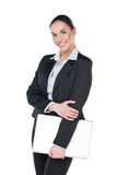 Beautiful business woman holding blank folder. Royalty Free Stock Photos