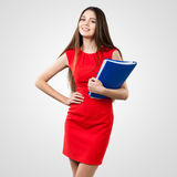 Beautiful business woman holding folder Royalty Free Stock Photo