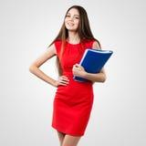 Beautiful business woman holding folder Royalty Free Stock Photo