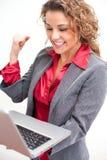 Beautiful business woman holding laptop Stock Photos