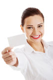 Beautiful business woman holding personal card. Stock Photo
