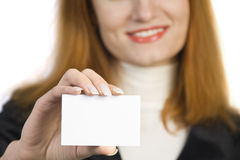 Beautiful business woman holding sign Stock Image