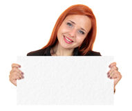 Beautiful business woman holding up a blank banner Stock Image