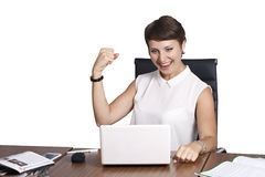 Beautiful business woman, isolated, successful and happy mood Royalty Free Stock Photo