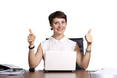 Beautiful business woman, isolated, successful and happy mood Stock Image