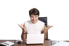 Beautiful business woman, isolated on a white background. Emotions while working Stock Photos