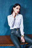 Beautiful business woman lady style perfect body shape brunette Stock Photography