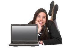 Beautiful business woman with laptop Stock Photo