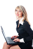 Beautiful business woman with laptop Royalty Free Stock Photography
