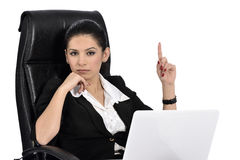 Beautiful Business Woman on a Laptop Stock Images