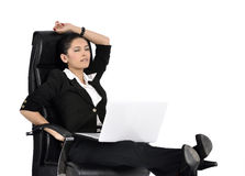 Beautiful Business Woman on a Laptop Royalty Free Stock Images