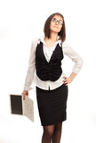 Beautiful business woman with a laptop. Standing on a white background Royalty Free Stock Photo