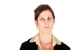 Beautiful business woman looking up Royalty Free Stock Photos