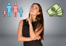 Beautiful business woman with money and family Stock Image
