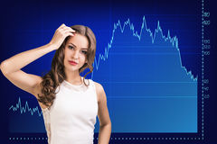 Beautiful business woman near with big graph Stock Photography