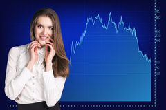 Beautiful business woman near with big graph Royalty Free Stock Images