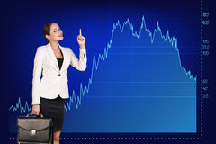 Beautiful business woman near with big graph Royalty Free Stock Photography