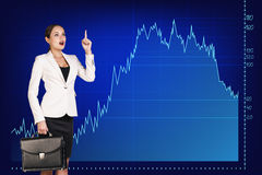 Beautiful business woman near with big graph Stock Images