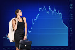Beautiful business woman near with big graph Royalty Free Stock Photos