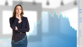 Beautiful business woman near with big graph Stock Photos