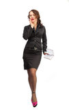 Beautiful business woman with a notebook in hand Stock Image