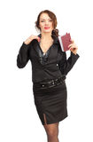 Beautiful business woman with a notebook in hand Stock Images