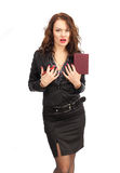 Beautiful business woman with a notebook in hand Stock Photos