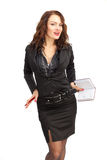 Beautiful business woman with a notebook in hand Royalty Free Stock Photos
