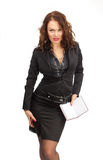 Beautiful business woman with a notebook in hand Stock Photography