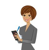 Beautiful  business woman with notebook and pen in Royalty Free Stock Photography