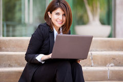 Beautiful business woman outdoors Royalty Free Stock Images