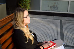Beautiful business woman outside her office Stock Photography