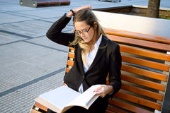 Beautiful business woman outside her office Royalty Free Stock Photos