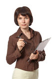 Beautiful business woman with pen and clipboard Royalty Free Stock Photos