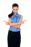 Beautiful business woman pointing with both hands Stock Photos