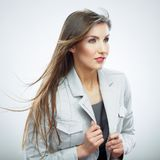 Beautiful business woman portrait. White background Stock Images