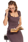 Beautiful business woman reading a book Stock Photos