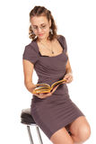 Beautiful business woman reading a book Royalty Free Stock Photos