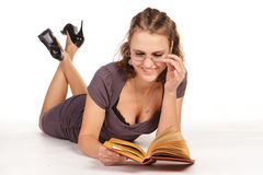 Beautiful business woman reading a book Royalty Free Stock Image
